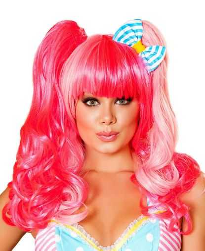 Roma Pink Long Curly Wig