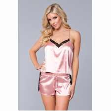 Satin Top And Shorts With Touches of Lace