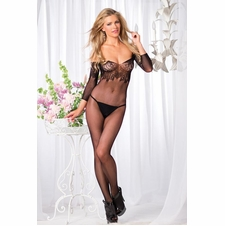 Seamless Floral Lace And Fishnet Bodystocking
