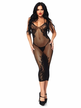 Seamless Net And Lace Dual Strap Halter Dress