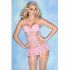 Sheer Chemise With Layered Ruffle Trim And Thong