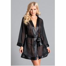 Plus Sheer Chiffon Robe With Silky Trim