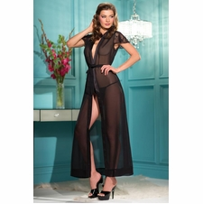 Plus Sheer Full Length Gown With Thong