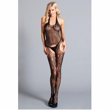 Sheer Halter Style Bodystocking With Lace Details