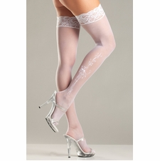 Sheer Lace Top Thigh Highs With Floral Pattern