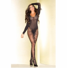 Sheer Long Sleeve Bodystocking With Plunging Neckline