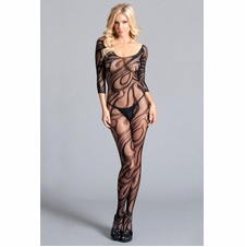 Sheer Long Sleeve Crotchless Bodystocking