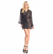 Plus Sheer Robe With Lace Trim Collar