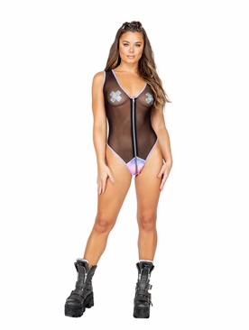 Sheer Romper With Zipper Closure