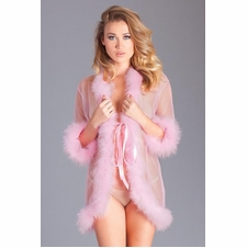 Short Length Sheer Robe With Marabou Feathers