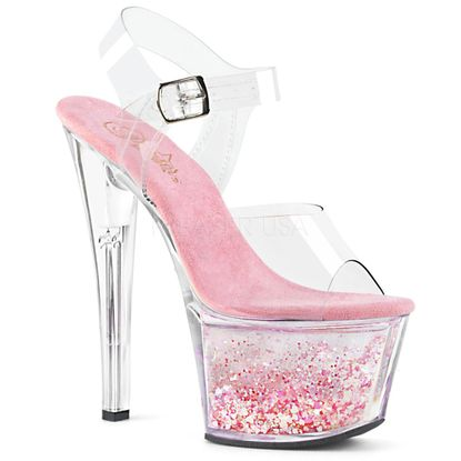 Pleaser Sky-308WHG Ankle Strap Sandal With Floating Hearts