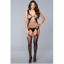 Sleeveless Sheer Suspender Cut-Out Bodystocking