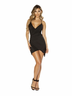 Spaghetti Strap Satin Dress with Overlapping Scrunch Detail