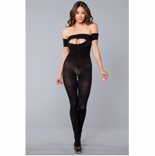 Strapless Opaque Bodystocking With Ripped Side Details