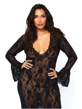 Stretch Lace Deep-V Bell Sleeve Long Dress