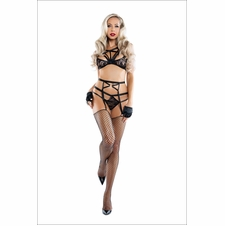 Submissive Strappy Bralette Garter And Panty Set