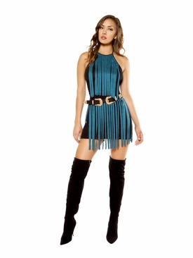 Suede Mini Dress with Fringe Detail