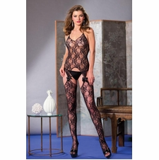Suspender Floral Bodystocking With Bows & Lace