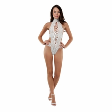 Sweet Tooth Lace Up Front Halter Teddy