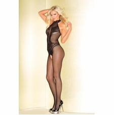 Turtleneck Fishnet Bodystocking With Lace Design