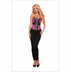 Two Tone Pink and Black Pleather Corset