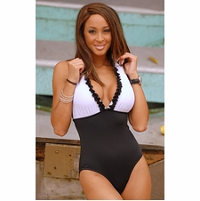 Ujena Black and White Affair One Piece Sexy Bathing Suit