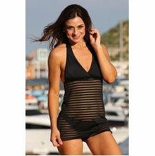Ujena Black Sheer Stripes Sexy Swim Dress Swimsuit