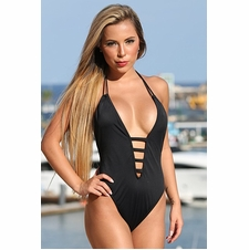 Ujena Black Straps One Piece Swimsuit