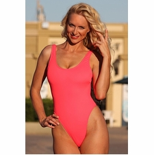 Ujena Electric Coral Double Dip One Piece Swimsuit