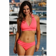 Ujena Electric Coral Halter Banded Sexy Bikini Bathing Suit