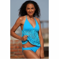 Ujena Festival Open Back Tankini Bathing Suit