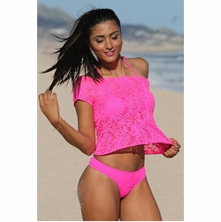 Ujena Hot Pink Lace Swimwear Cover-Up Tee