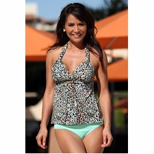 Ujena Mint Leopard Tankini Bathing Suit