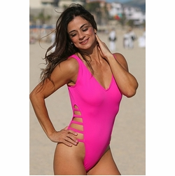 Ujena Neon Strappy High-Cut One Piece Sexy Swimsuit