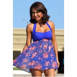 Ujena Sheer Floral and Royal Sexy Swim Dress