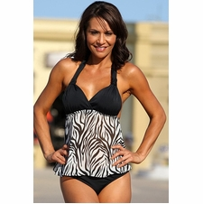 Ujena Sheer Zebra Print Open-Back Sexy Sexy Tankini Bathing Suit
