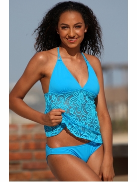 Ujena Swimwear E403  Festival Open Back Tankini Bathing Suit