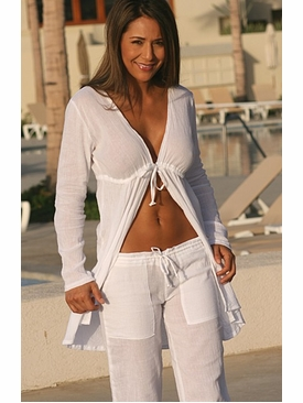 Ujena Swimwear M718  Gauze  Cover-Up Tie Robe