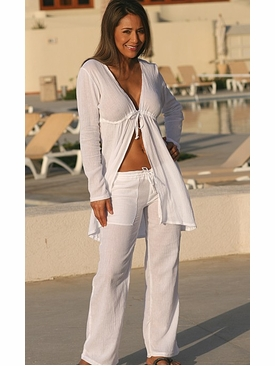 Ujena Swimwear M783  Drawstring  Cover-Up Gauze Pants