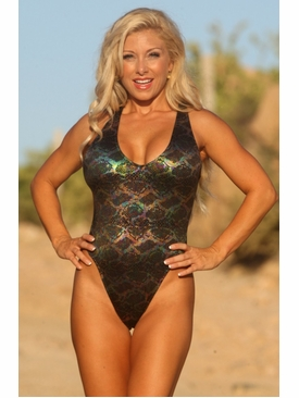 Ujena Swimwear N110  Hypnotic Black One Piece Swim Suit