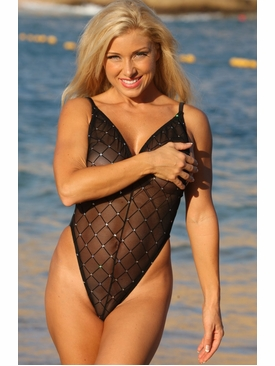 Ujena Swimwear N125  Fabulous Black Sheer Diamond One Piece Bathing Suit