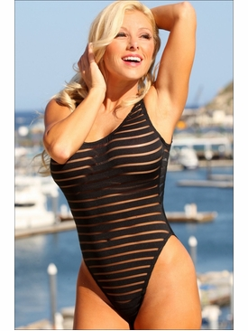 Ujena Swimwear W110 Sheer Stripes Double Dip One Piece Bathing Suit to Size 22