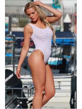 Ujena Swimwear W120  Sheer Stripes Double Dip One Piece Bathing Suit