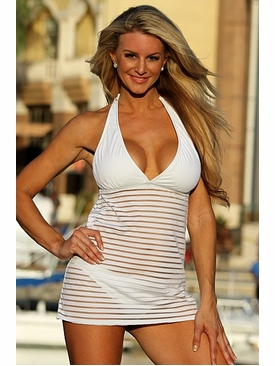 Ujena Swimwear W227  Sheer Stripes Swim Dress Swimsuit