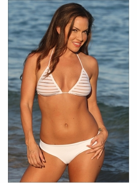 Ujena Swimwear W243  Sheer Stripes Bikini Bathing Suit