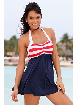 Ujena Swimwear Z297  Sailor Girl Sexy Swim Dress