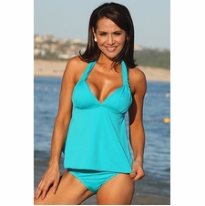 Ujena Teal Open-Back Sexy Tankini Bathing Suit