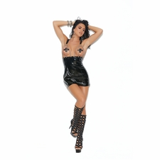 Vinyl Mini Dress With Open Bust Chain Front