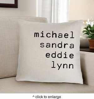 Family Names Personalized Throw Pillow - click to enlarge