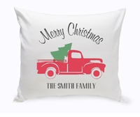 Personalized Red Christmas Truck Throw Pillow